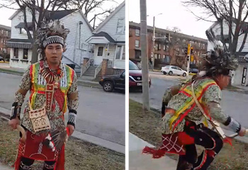 Native American Man Performs Social Distance Powwow